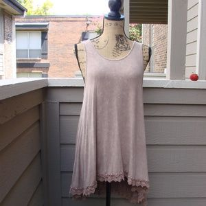 By Together suede color lace trim swing dress Sz L